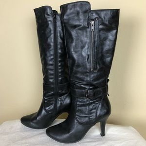 White Mt. Black Faux Leather Heeled Boots, 6.5